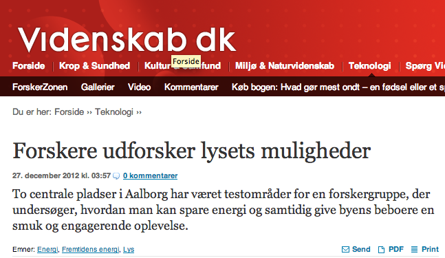 Article on Lighting at the danish blog: Videnskab.dk